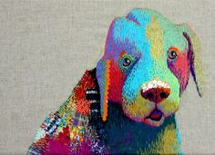 20 Whimsical Embroidered Animals by Kimika Hara - love the bold use of colors on this hound dog! Creative Embroidery, Modern Embroidery, Beaded Embroidery, Embroidery Stitches, Hand Embroidery, Machine Embroidery, Portrait Embroidery, Thread Painting, Thread Art