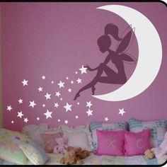 Fairy Wall Stickers & Moon Wall Decal Nursery Decor Baby Room Mural