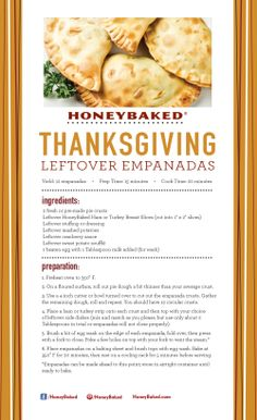 HoneyBaked Thanksgiving Leftover Empanadas #HoneyBaked #Ham #TurkeyBreast #Recipe