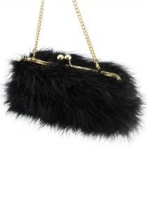 Feather Evening Handbag--Collection Marilyn / Style # 1165. Natural marabou feather in 21 colors. Gold, silver or antique brass metal frame finish.