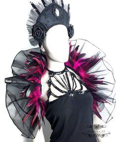 feather tulle shrug Rhaissa black red pink organza #tulle #DancingBolero #FeatherTulle #goth #BlackFeathers #wedding #FeatherShrug #dance #bride #festival