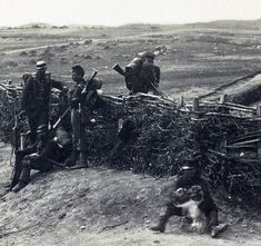 Union soldiers posing in abandoned Confederate fortifications at Centreville, Va.