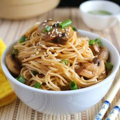 Super flavorful and easy to make Sesame Chili Mushroom Noodles.