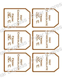 Polar Express Party Favor Printable Hot Cocoa Tags by shepherd6963, $2.50