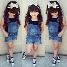 No matter what year or season it is I always see denim overalls on tots n kids Toddler Girl Style, Toddler Girl Outfits, Toddler Fashion, Kids Fashion, Babies Fashion, Girls Summer Outfits, Little Girl Outfits, Little Girl Fashion, Outfits Niños