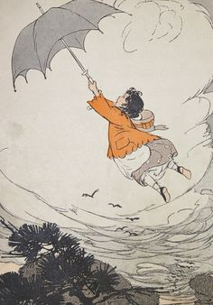 Vintage 1914 Illustration Childrens Storybook Book Print- Flying by Umbrella via Etsy.......would love to know the name of the book and the author..!!