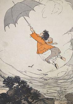 Vintage 1914 Illustration Childrens Storybook Book Print- Flying by Umbrella