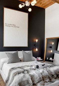 Pinspiration: Cozy Up With This Fall Apartment Decor Inspiration | Design Trends For Autumn | Warm and Cozy With Faux Fur | Love The Minimal Oversized Art Big Bedroom Mirror, Big Mirrors, Black Bedroom Walls, Antique White Bedroom Furniture, Dark Master Bedroom, Bedroom Art, Charcoal Bedroom, Apartment Master Bedroom, Black Accent Walls