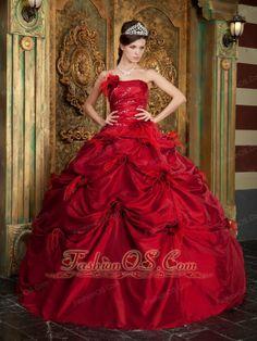 New Red Quinceanera Dress Strapless Taffeta Hand Made Flowers Ball Gown