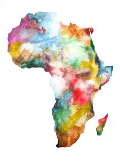 Large Africa Map Print Watercolor Painting Colorful