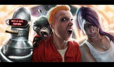 Bender, Nibbler, Fry, Leela