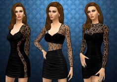 Mod The Sims - Updated - Three lace bodycon dresses by LollaLeeloo