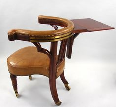 For Sale On   A Regency Period Mahogany Part Ebonized Leather Upholstered  Library Reading Chair, The U Shaped Top Rail With A Sliding Ratcheted  Reading ...