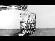 How to Draw a Glass of Water with water pouring into it: Narrated - YouTube