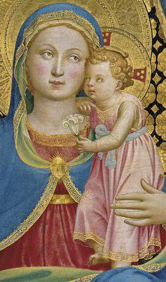 BEATO ANGELICO - Madonna dell'Umiltà (umiltà Virgin), dettaglio - tempera su tavola - 1433- 1435 - attualmente al Museo Nazionale d'Arte della Catalogna a Barcellona, dal Museo Thyssen-Bornemisza Museum,  Madrid.