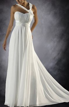 Chiffon Wedding Dress With Asymmetric Straps Wedding Gowns - Outerdress.com