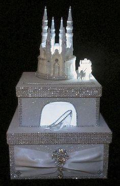 Lighted Cinderella Castle Wedding Card Box / Cake Topper