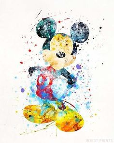 Mickey Mouse Disney Watercolor Print. Prices from $9.95. Available at InkistPrints.com - #disney #watercolor #babyart #decor #nurseryart #MickeyMouse
