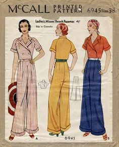 Vintage wide leg pants are in fashion! See the history of vintage high waist, wide leg pants from the and Learn and shop. Vintage Outfits, Vintage Pants, Vintage Dresses, Vintage Clothing, 1930s Fashion, Retro Fashion, Vintage Fashion, High Fashion, Women's Fashion