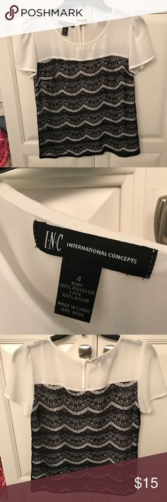 I-N-C International Concepts - dress shirt Super cute I-N-C short sleeve dress shirt - SIZE 4 - purchased from Macy's and worn to an interview. Black lace detail overlay is my favorite part of this shirt! INC International Concepts Tops Blouses