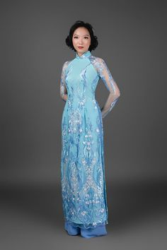 Vietnamese Ao Dai with pants. Custom made. Blue and silver | Etsy Vietnamese Traditional Dress, Traditional Dresses, Asian Style Dress, Different Necklines, Ao Dai, Our Wedding Day, Chiffon Fabric, Blue And Silver, Custom Made
