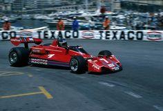 """Carlos Reutemann driving his Brabham-Alfa Romeo at the 1976 Monaco Grand Prix. Martini Racing, Alfa Romeo, Le Mans, Formula 1 Car Racing, Bmw Turbo, Ferrari, Win Car, Monaco Grand Prix, F1 Racing"