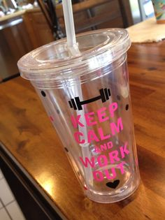 Keep Calm and Work Out cute tumbler cup with by TheStickerGirl, $10.00