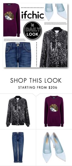 """""""I wondered where you'd come from but then I'd realized it was a vision in my dreams..."""" by eclectic-chic ❤ liked on Polyvore featuring Kye, Markus Lupfer, Current/Elliott, Dee Keller, Sweater, boyfriendjeans, Sequins, fall2015 and ifchic"""