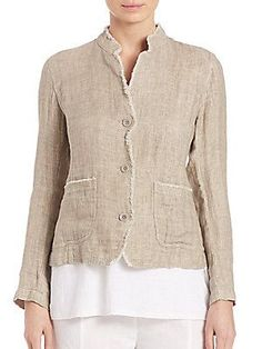 Eileen Fisher Linen Double-Weave Jacket - Natural - Size L