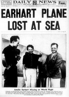O ztroskotání letadla Amelie Earhartové, která se se svým navigátorem pokusila obletět svět, psaly noviny po celém světě.