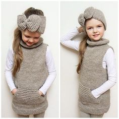 Vest and Headband, Matching Set, Knit Vest, Sleeveless Vest, Knit Tunic, Winter vest, Big Bow Headband, Knit cardigan, Girls Vest, Jumper