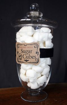 Apothecary Jar - 60 Skull Shaped Sugar Cubes - could decorate these instead of cookies. and the container could be useful. Halloween Gifts, Halloween Party, Halloween Halloween, Vintage Bottles, Antique Bottles, Vintage Perfume, Antique Glass, Apothecary Jars, Mason Jars