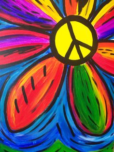 Find a wine and painting event at Pinot's Palette in Paradise Valley for a unique, fun night out or private event venue! Book your painting class today! Hippie Painting, City Painting, Peace Painting, Sun Painting, Rock Painting, Hippie Peace, Happy Hippie, Hippie Party, Peace Love Happiness