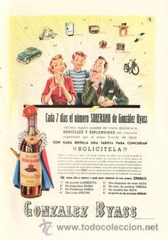 Página Publicidad Original *Brandy Jerez SOBERANO · GONZÁLEZ BYASS* Agencia RASGO -Vintage- Año 1956