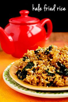 Kale Fried Rice with Sesame Seeds