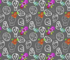 calaveraslarge fabric by leticia_plate on Spoonflower - custom fabric