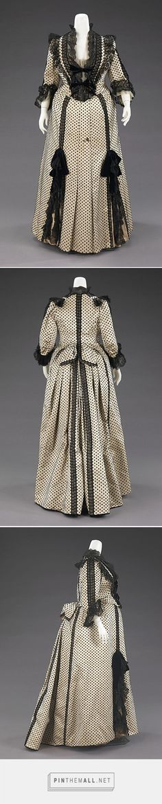 Dinner dress by House of Worth French Victorian Era Fashion, 1880s Fashion, Victorian Gown, Victorian Costume, Vintage Fashion, Vintage Gowns, Vintage Clothing, Vintage Outfits, House Of Worth