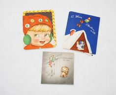 Three vintage Christmas cards by HappyCloudImports on Etsy, $4.00