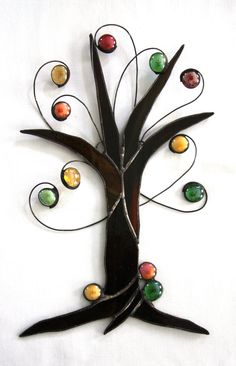 Stained Glass Relief Sculpture Autumn Harvest Fall Tree with Textured Brown Bark and Orange, Green, Gold and Amber Jewels
