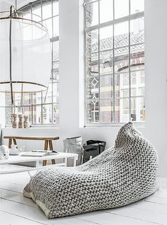 HGTV's Genevieve Gorder's favorite home decor and interior design picks for 2016 - on the Dog Lady Design Files blog! One of her favorites? The Nest bean bag. So comfortable and cool in this modern loft.  Interior Design, Home Decorating and Dog Musings from Jersey City www.dogladydesignfiles.com