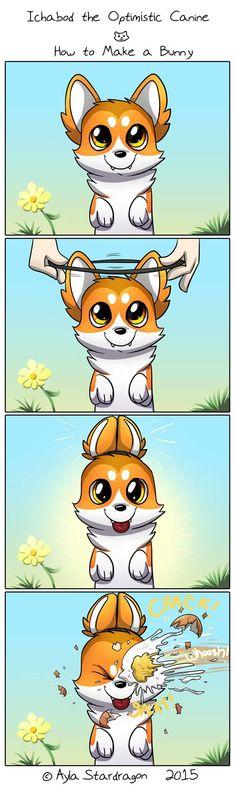 Ichabod the Optimistic Canine :: How to Make a Bunny | Tapastic Comics - image 1 Corgi Cartoon, Cute Dog Cartoon, Dog Comics, Comics Love, Cute Comics, Funny Comics, Cute Animal Drawings, Funny Drawings, Cute Puppies
