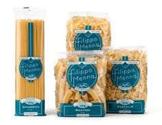 """""""The packaging of pasta Filippo Menna has been studied by Angelini Design to export our good name overseas: the classic transparency of the packages was joined by a symbol of the Vesuvius and the traditional color of the city of Naples, light blue. Food Packaging Design, Packaging Design Inspiration, Brand Packaging, Branding Design, Simple Packaging, Food Branding, Food Design, Creative Design, Design Design"""