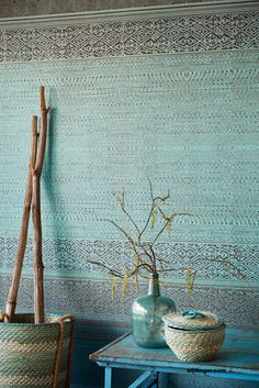 Eijffinger Siroc Wallpower 376090 Tapestry Turquoise  M-add flowers - moonflower - white, trumpet/lilys - orange