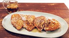 Bobby Flay's Almond Croissant French Toast with Almond Butter Syrup