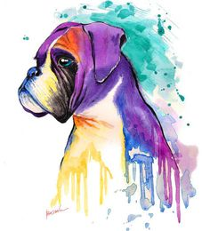 Custom Dog Portrait Art Boxer Dog Art Portrait by BasovaArt