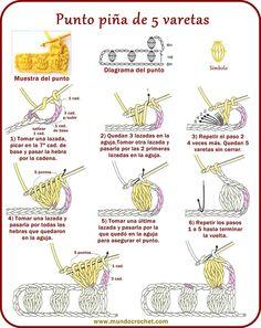 Punto piña de varetas, garbanzo, madroño - Ponto pipoca - Bobble stitch