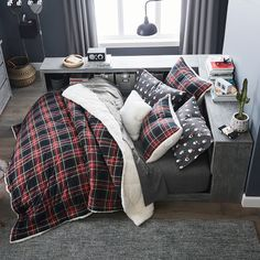 This multi-tasking bed is a dreamy complement to a cozy corner. Teen Bedding Sets, Bed In Corner, Diy Platform Bed, Oversized Furniture, Baby Room Design, Mattress Covers, Boy Room, Home, Boy Rooms