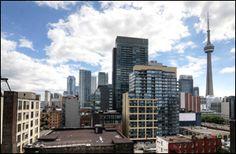 #Quad #Lofts, #Toronto Exposed Concrete, Polished Concrete, Concrete Ceiling, Concrete Floors, Toronto Lofts, Hunter Douglas Blinds, Juliette Balcony, Floor To Ceiling Windows, Glass Shower