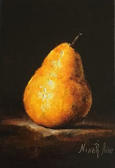 Yellow Pear Original Oil painting by Nina R. by NinaRAideStudio #yellow pear#chiaroscuro#fruit#oil painting