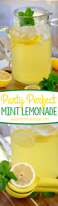 This Party Perfect Mint Lemonade is the best way to cool off on a hot day! So wonderfully refreshing and easy to make, it's going to be a hit at your next party! | Mom On Timeout